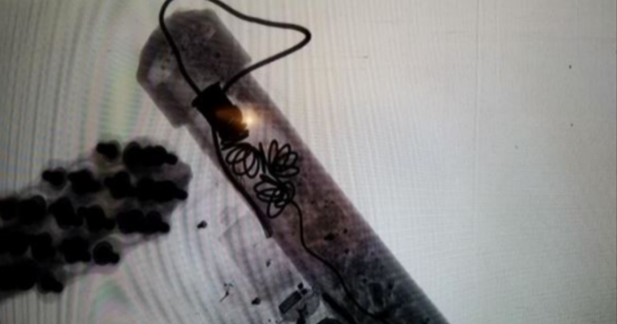 An X-Ray of one of the explosive devices sent via mail Wednesday to Washington D.C. and New York.