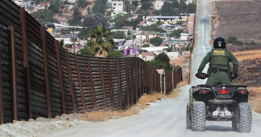 A U.S. Border Patrol agent patrols along a section of the U.S.-Mexico border