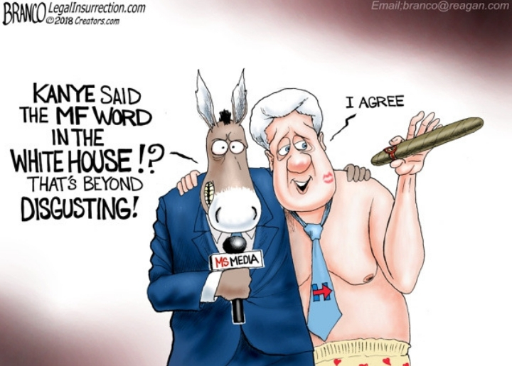 establishment media depicted as a donkey with former President Bill Clinton