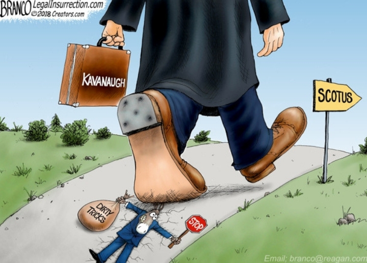 An image of a judge representing Brett Kavanaugh is seen stepping on, and flattening, the efforts of the Democrat mascot, who is holding a 'stop' sign and a bag labeled 'dirty tricks.'