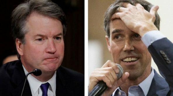 """Supreme Court nominee Brett Kavanaugh, left, and Rep. Robert """"Beto"""" O'Rourke, right."""