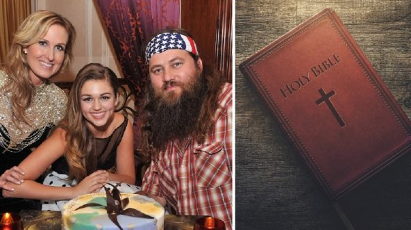 """Left photo: Sadie Robertson, center, is pictured with her parents Korie and Willie Robertson of the """"Duck Dynasty"""" series. A Bible is pictured on the right."""