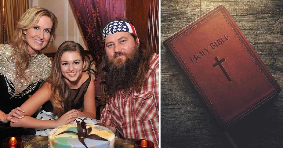 "Left photo: Sadie Robertson, center, is pictured with her parents Korie and Willie Robertson of the ""Duck Dynasty"" series. A Bible is pictured on the right."