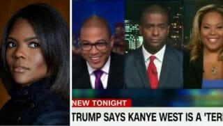 Candace Owens, left; Don Lemon and guests, right.