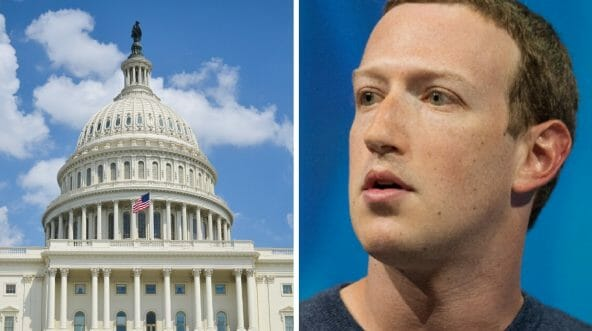 Facebook CEO Mark Zuckerberg and the U.S. Capitol