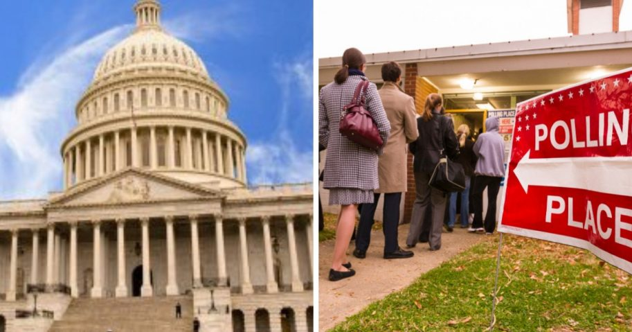 The U.S. Capitol pictured alongside a line of people waiting to vote on Election Day.