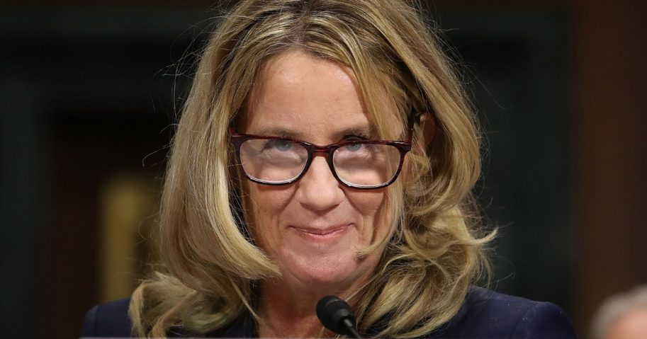 Christine Blasey Ford testifies Sept. 27 before the Senate Judiciary Committee on Capitol Hill.