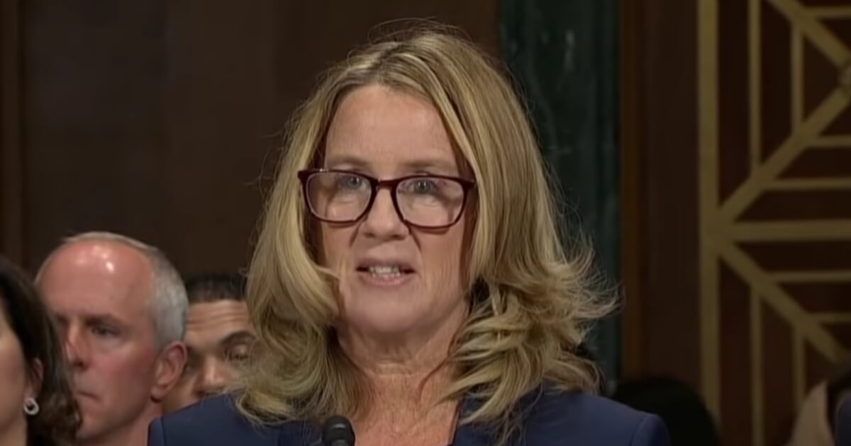 Christine Blasey Ford testifies before the Senate Judiciary Committee.