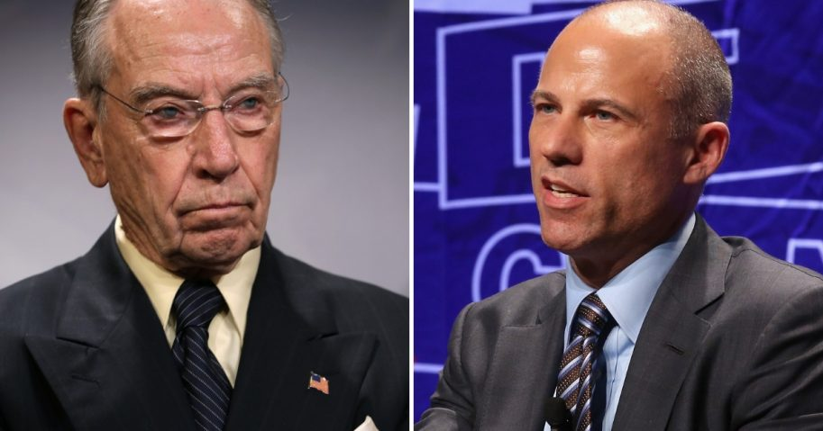Senate Judiciary Committee Chairman Charles Grassley, left, Michael Avenatti, right.