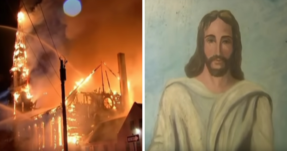 A fire destroyed the First Baptist Church in Wakefield, Massachusetts.