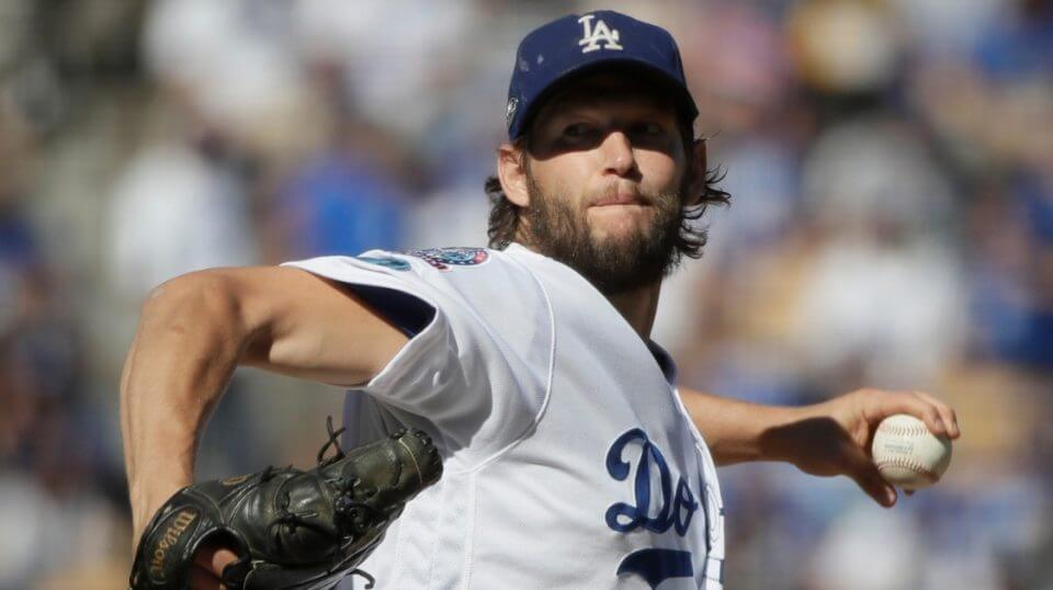 Clayton Kershaw throws during the first inning of Game 5 of the National League Championship Series.