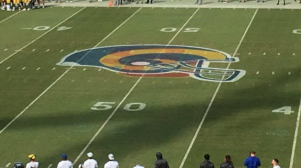 The USC logo was clearly visible underneath the Rams logo Sunday at the Coliseum.