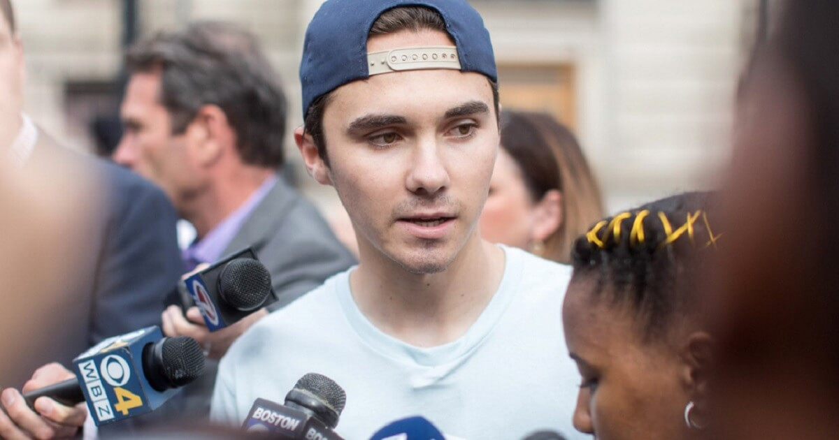 Anti-gun activist David Hogg is pictured in a file photo from an anti-gun event in Massachusetts in August.
