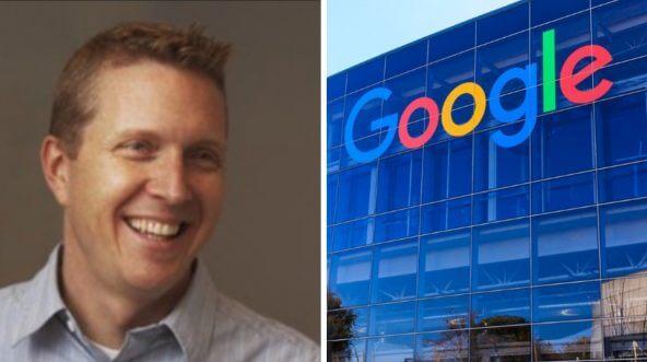 David Hogue alongside a photo of Google's corporate headquarters