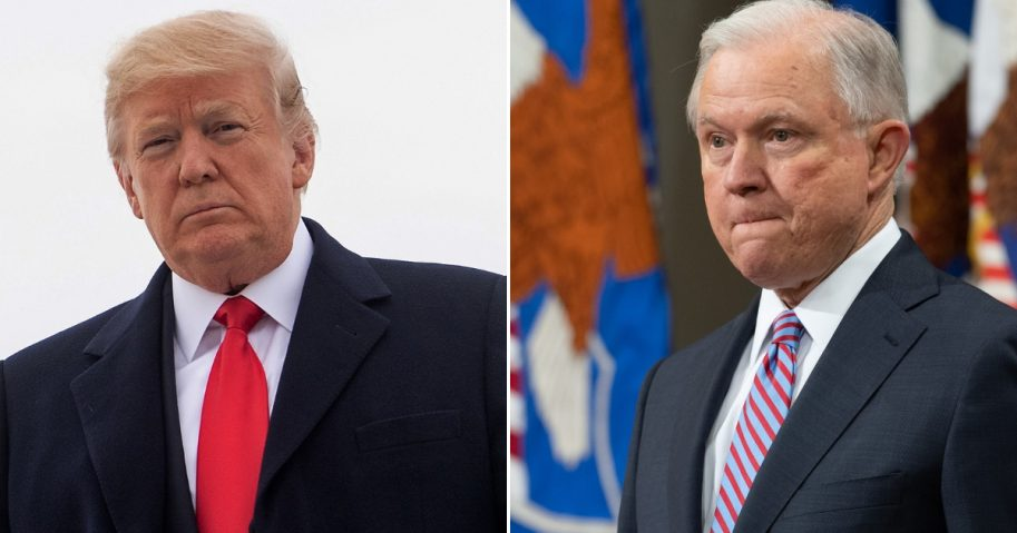 President Donald Trump, left, Jeff Sessions, right.