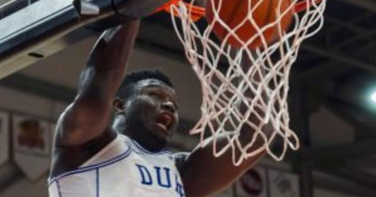 Duke's Zion Williamson dunks against Toronto during a college basketball exhibition game in August.