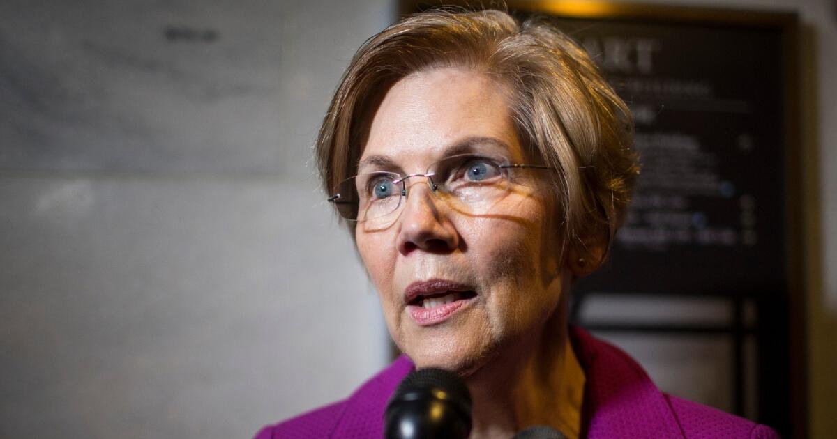 Sen. Elizabeth Warren (D-MA) speaks to members of the press