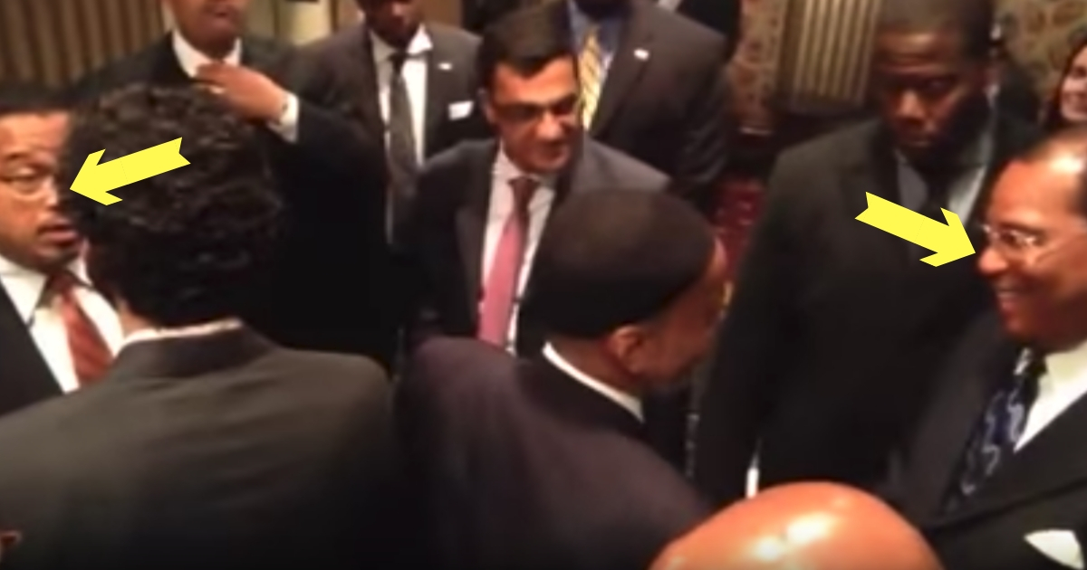 Keith Ellison, far left, stands a short distance away from Louis Farrakhan, far right, during an event believed to have been held no earlier than 2010.
