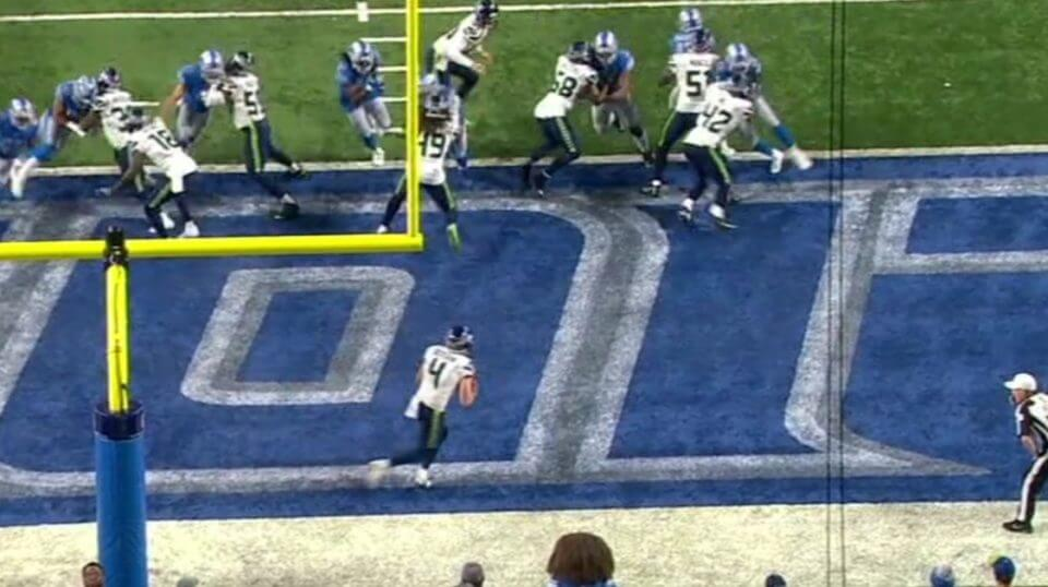 Seattle punter Michael Dickinson pulled off a successful fake punt Sunday against Detroit despite starting from the back of his own end zone.