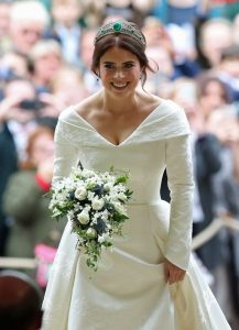 Princess Eugenie arrives for her wedding to Jack Brooksbank at St George's Chapel in Windsor Castle on October 12, 2018, in Windsor, England.