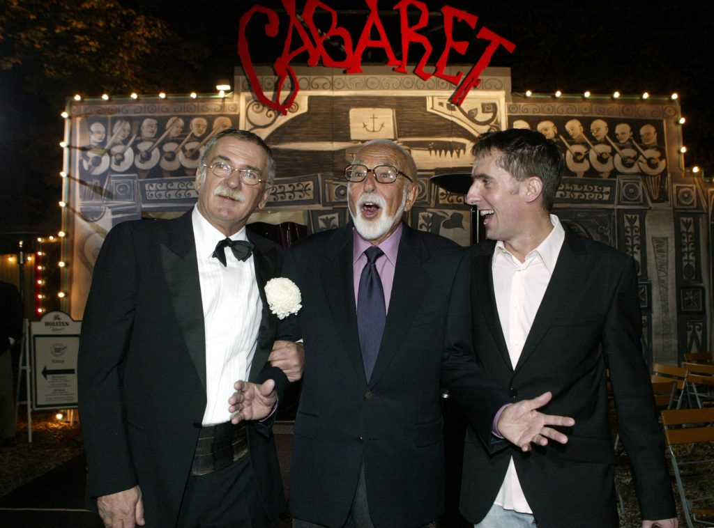 Holger Klotzbach, Joe Masteroff and Lutz Deisinger attend the opening night of new stage show 'Cabaret.'