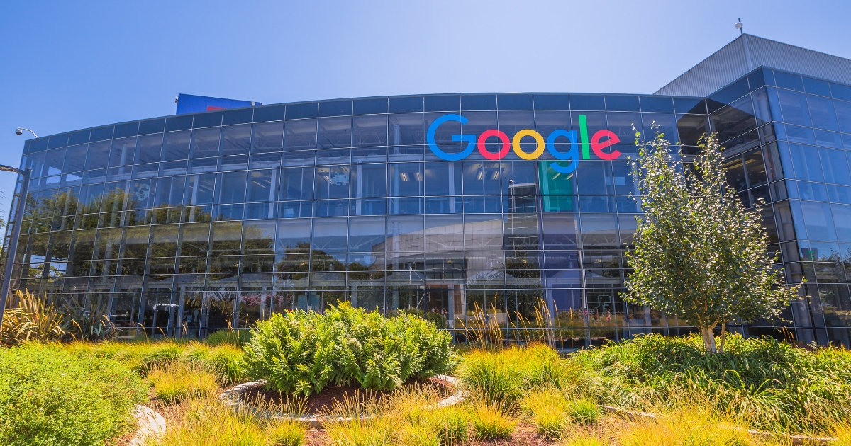 Exterior view of a Google headquarters building in Silicon Valley.