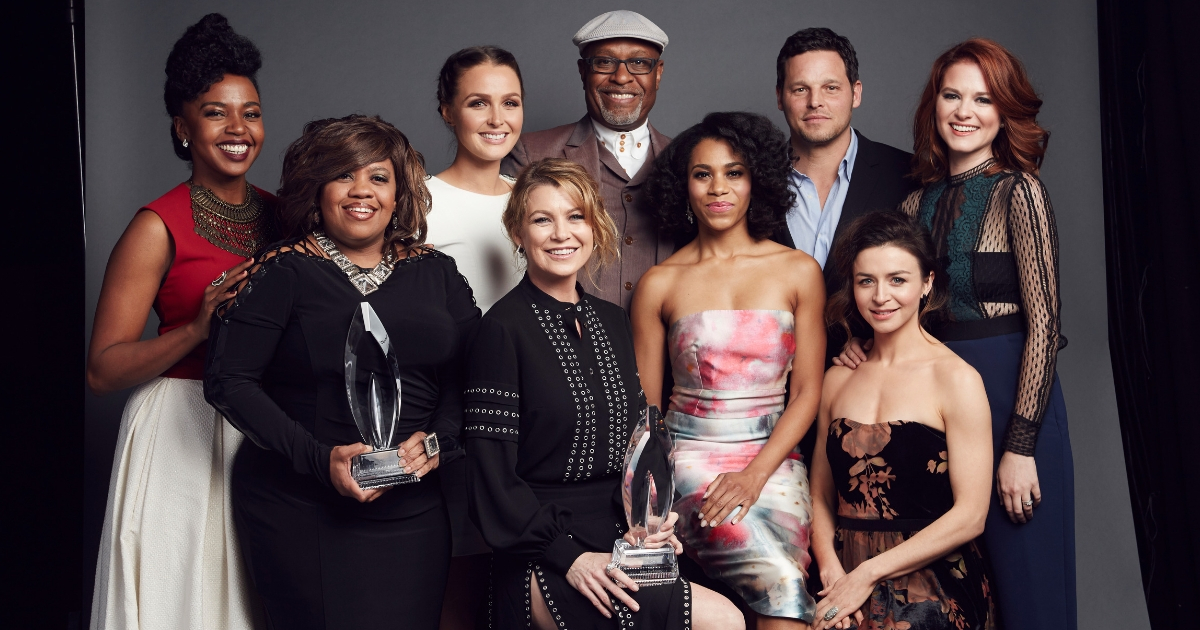 Jerrika Hinton, Chandra Wilson , Camilla Luddington, Ellen Pompeo, James Pickens, Jr., Kelly McCreary, Justin Chambers, Caterina Scorsone and Sarah Drew of 'Grey's Anatomy' pose for a portrait at the 2016 People's Choice Awards at the Microsoft Theater on Jan. 6, 2016, in Los Angeles, California.