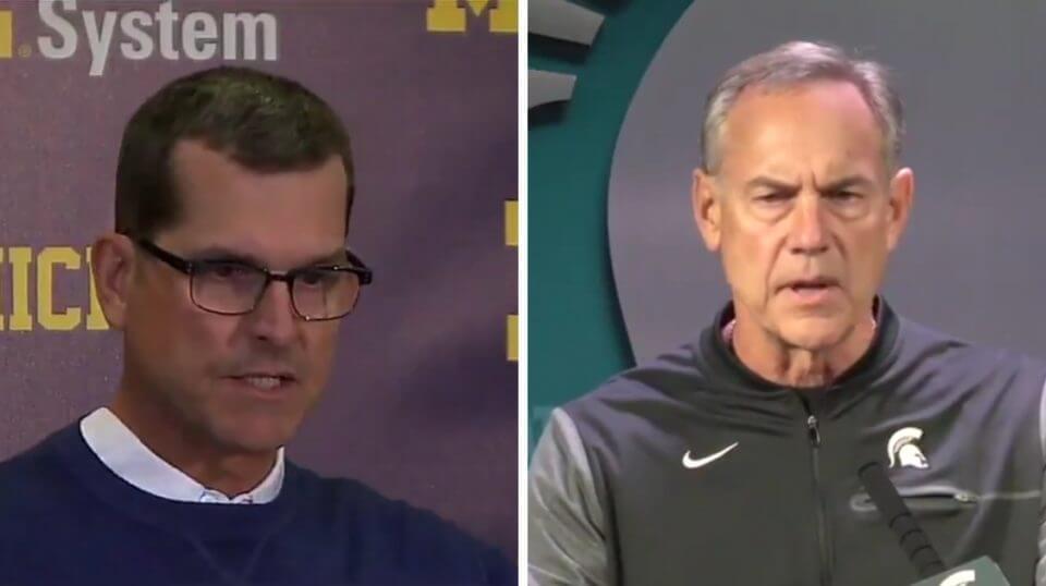 Michigan head coach Jim Harbaugh, left, and Michigan State coach Mike Dantonio.