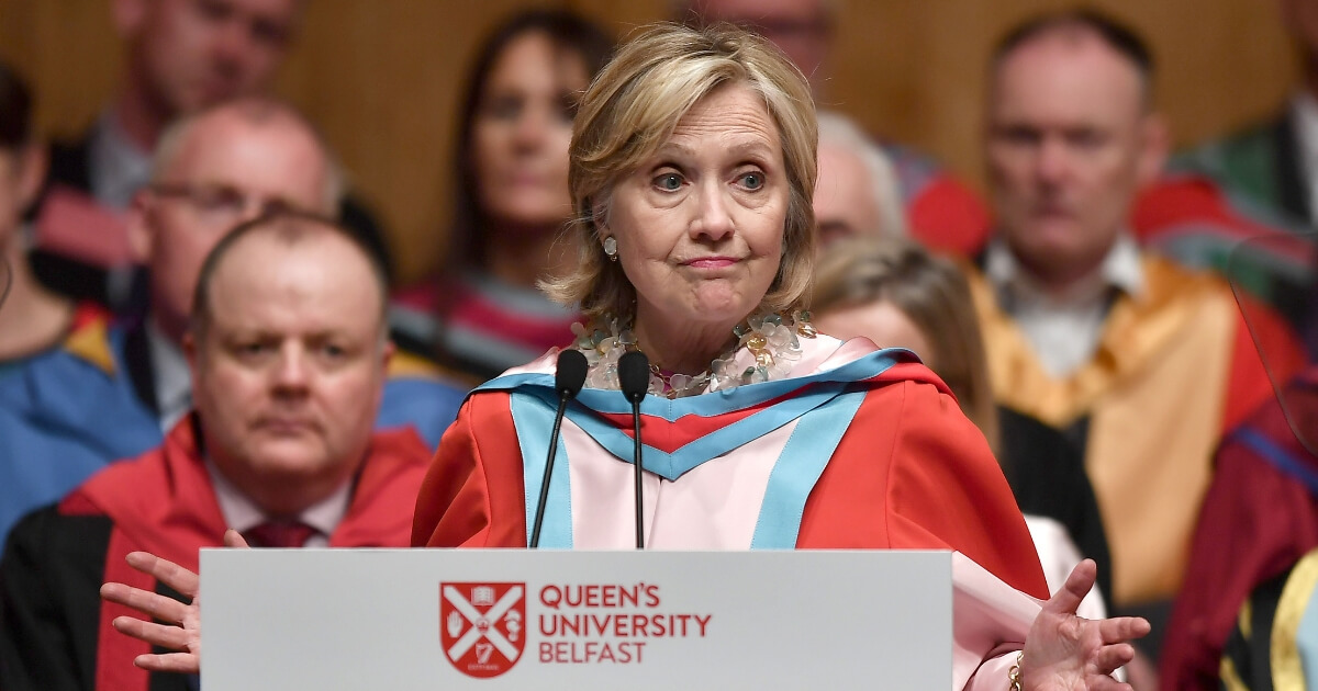 Hillary Rodham Clinton addresses invited members and attendees at Queens University Belfast