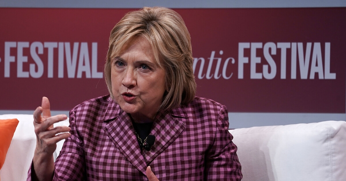 Former U.S. Secretary of State Hillary Clinton participates in a discussion during the 2018 Atlantic Festival
