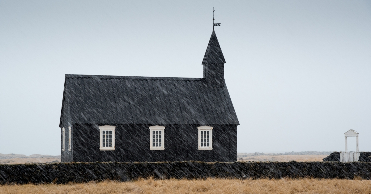 A church in Iceland in the snow