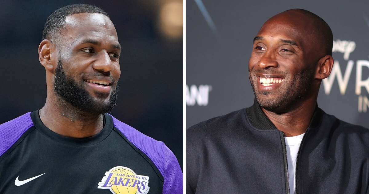 Los Angeles Lakers forward LeBron James, left, and Lakers legend Kobe Bryant.