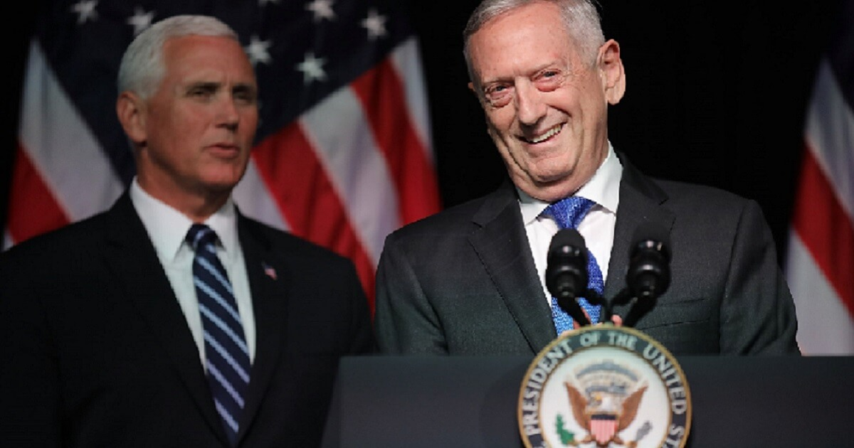 Defense Secretary James Mattis is pictured in an August appearance with Vice President Mike Pence in Arlington, Virginia.