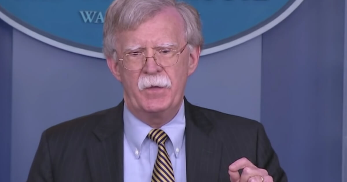 National security adviser John Bolton at a White House press briefing on Wednesday.