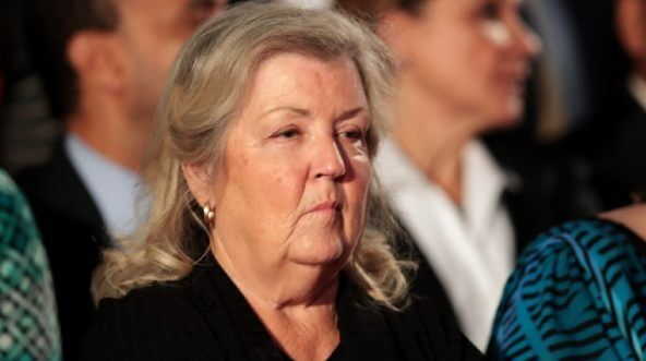 Juanita Broaddrick in the audience at a presidential debate between Hillary Clinton and Donald Trump in October 2016.