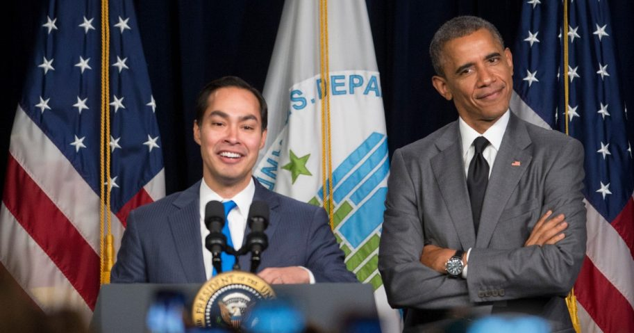 U.S President Barack Obama, right, gestures to Julian Castro, secretary of U.S. Housing and Urban Development, as they arrive to speak at the Department of Housing and Urban Development on July 31, 2014, in Washington, D.C.