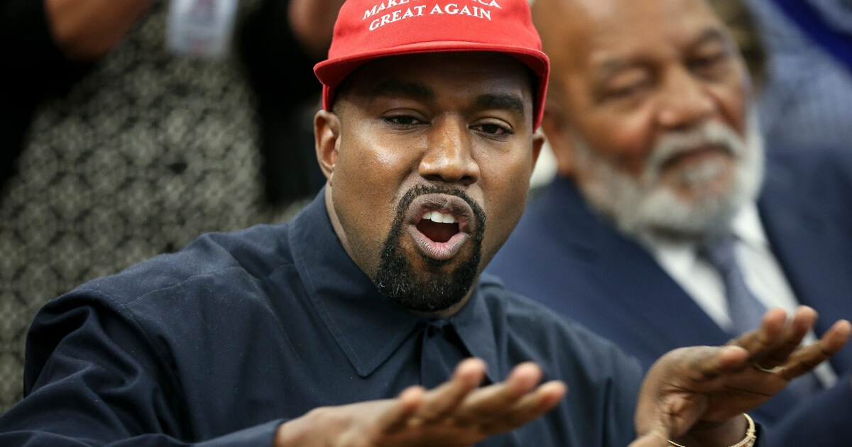 Rapper Kanye West speaks during a meeting with U.S. President Donald Trump