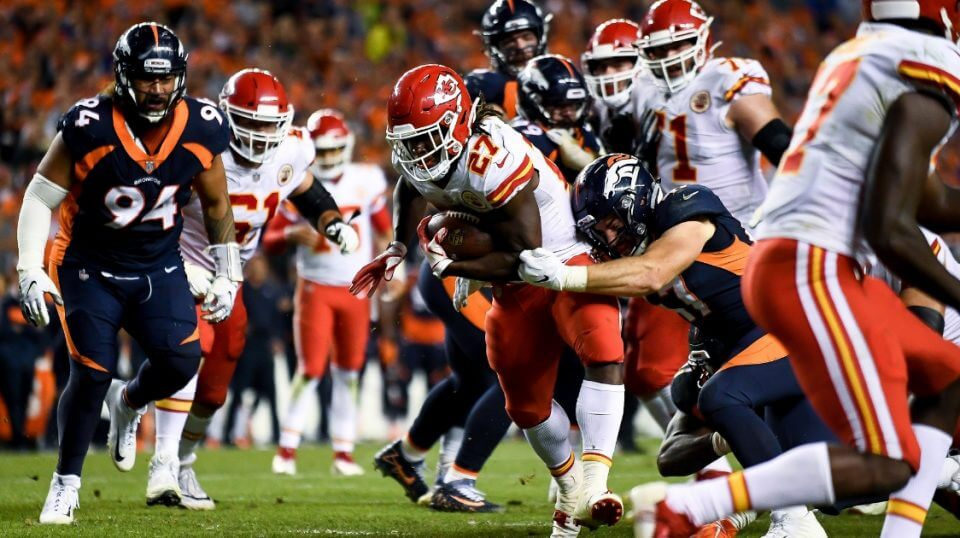 Running back Kareem Hunt of the Kansas City Chiefs scores a fourth-quarter go-ahead touchdown against the Denver Broncos at Mile High on Monday night.