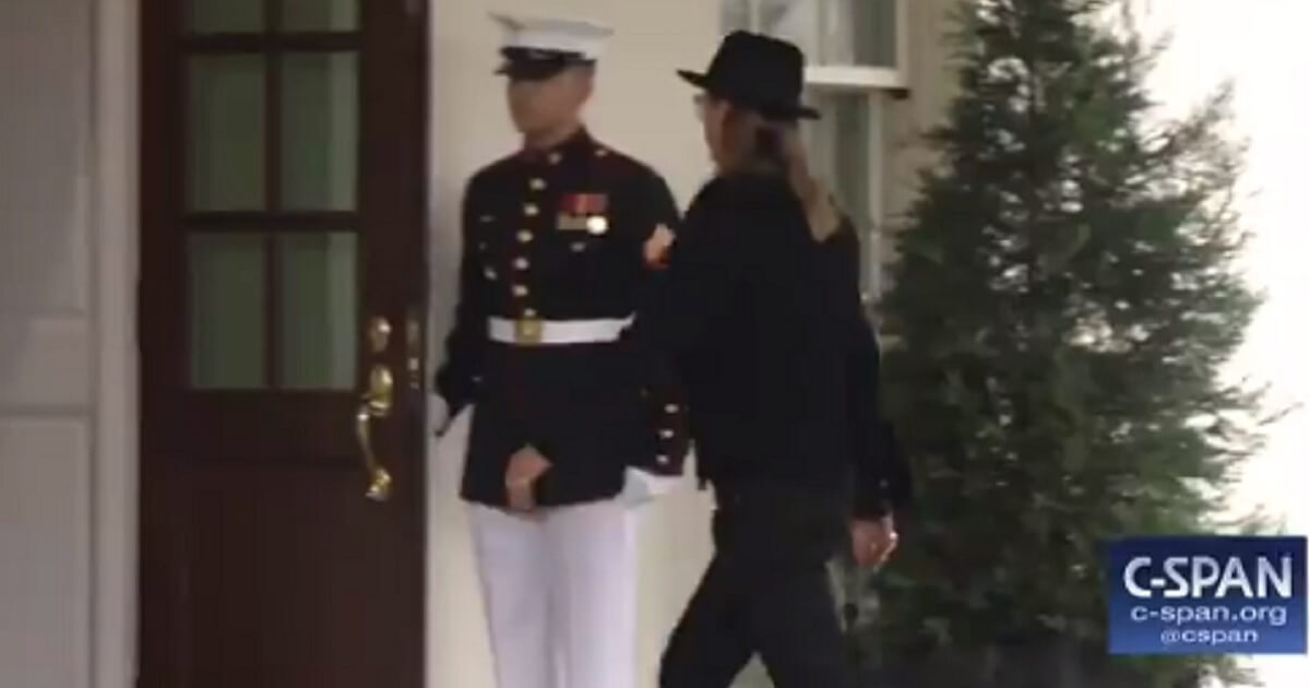 Music star Kid Rock arrives at the White House on Thursday to see President Donald Trump sign a bill to reform how music royalties are distributed in the digital age.
