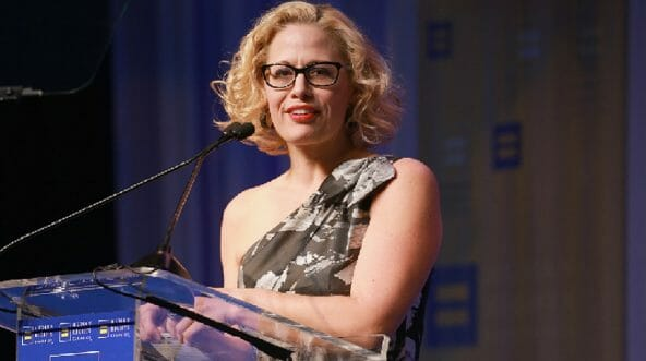 U.S. Rep. Kyrsten Sinema, the Democratic candidate for U.S. Senate in Arizona, is pictured speaking at an event in March.
