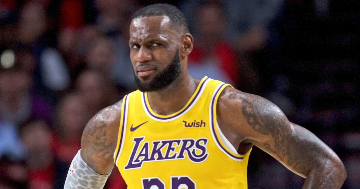 LeBron James looking frustrated