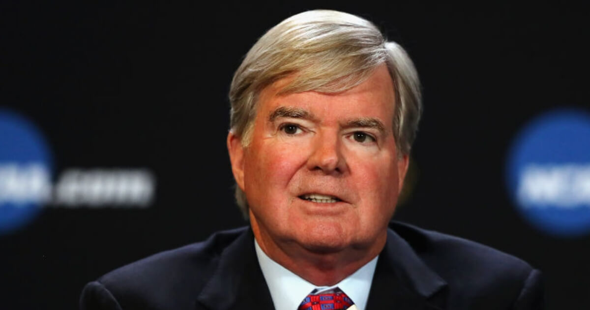NCAA president Mark Emmert at a 2017 press conference.