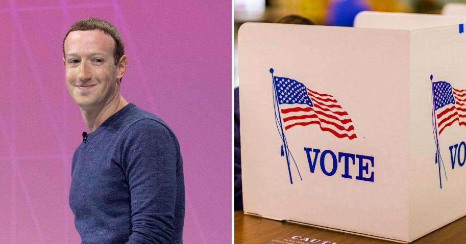 Mark Zuckerberg, left. Voting booth, right.
