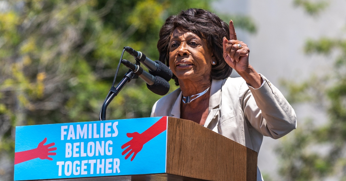 California Rep. Maxine Waters speaks at a rally protesting the Trump administration's tough stance on illegal immigration.