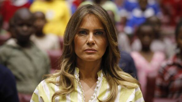 US First Lady Melania Trump listens as the Kenyan national anthem is played