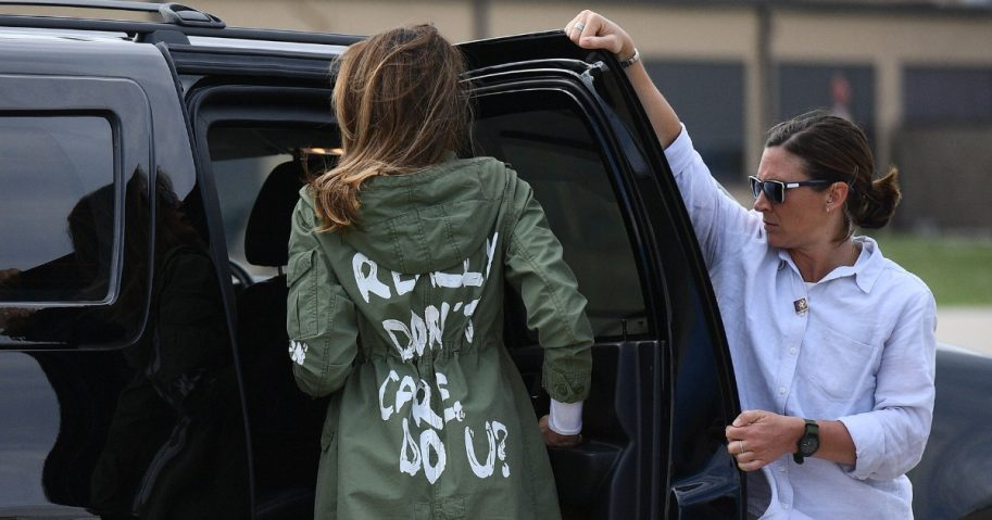 "First lady Melania Trump departs Andrews Air Force Base in Maryland on June 21 wearing a jacket emblazoned with the words ""I really don't care, do you?"""
