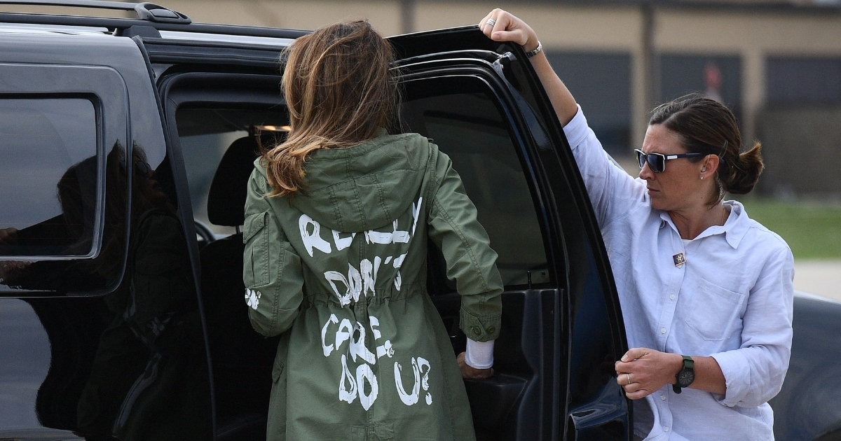 """First lady Melania Trump departs Andrews Air Force Base in Maryland on June 21 wearing a jacket emblazoned with the words """"I really don't care, do you?"""""""