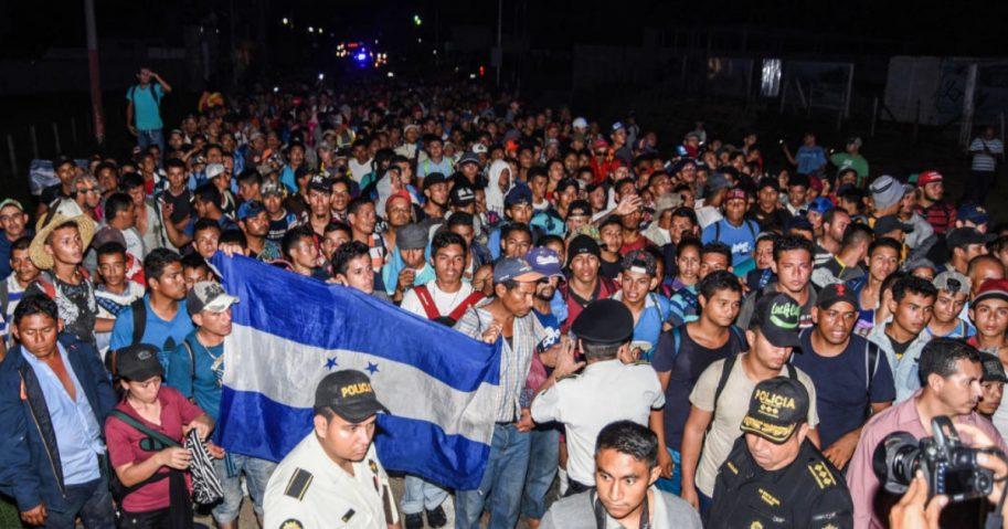 Honduran migrants taking part in a new caravan heading to the U.S.