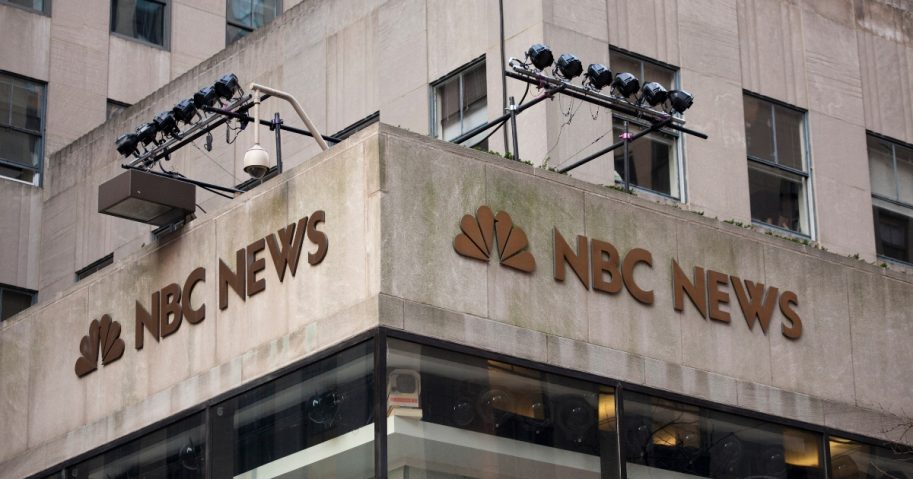 The NBC News logo is affixed to the corner of 10 Rockefeller Plaza