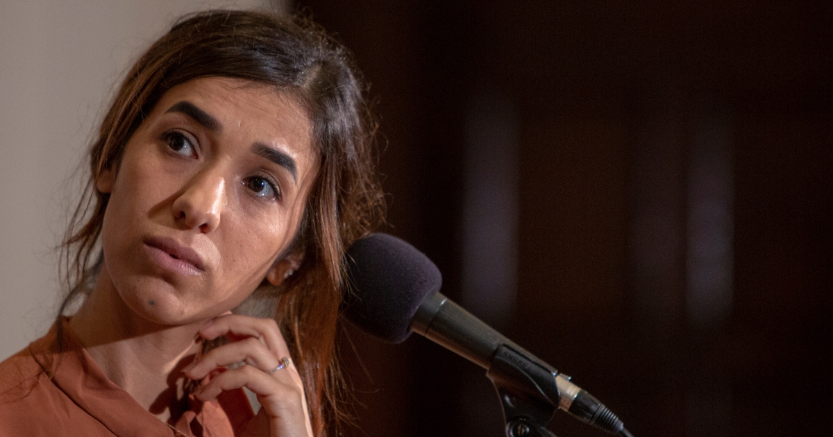 Nadia Murad, a 24-year-old Yazidi woman and co-recipient of the 2018 Nobel Peace Prize takes questions at the National Press Club on Oct. 8, 2018, in Washington, D.C.